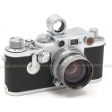 LEICA IIIf SCREW MOUNT RANGEFINDER SILVER FILM CAMERA USED with LEITZ 5CM SUMMITAR + FINDER